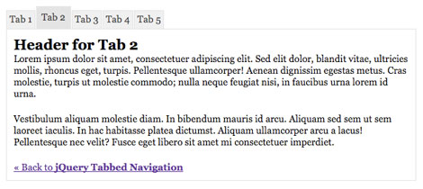 jQuery Tabbed Navigation
